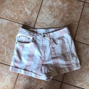 Pink and white striped shorts